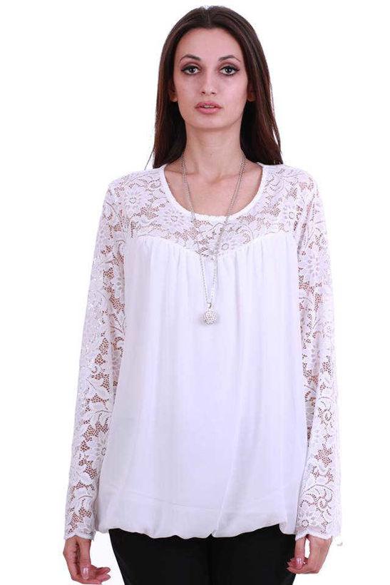 Бяла блуза с дантела 2XL от жоржет Julia