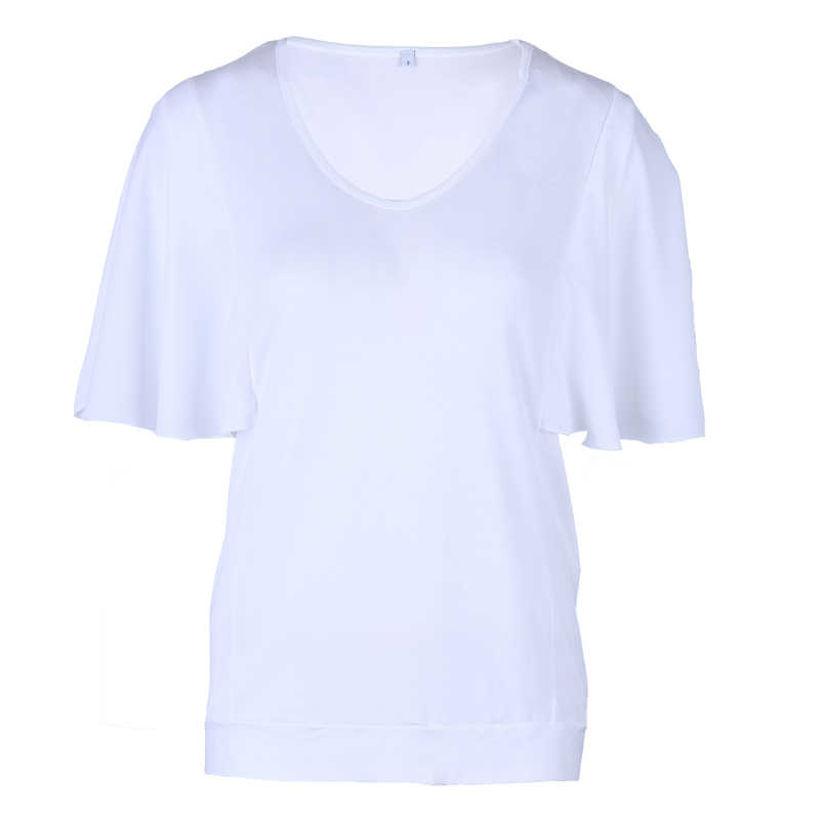Бяла блузка с ръкав от шифон за лятото