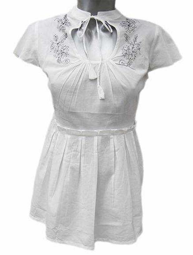 Бяла памучна блузка Julia с бродерия