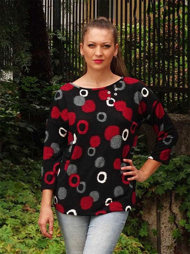 Дамска блуза голям размер кръгове Julia