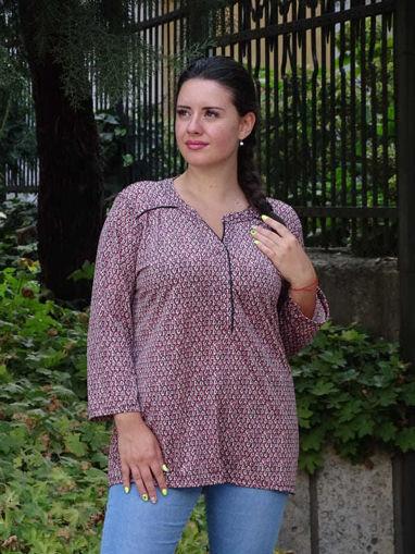 Дамска блуза Марина свободен модел с три четвърти ръкави