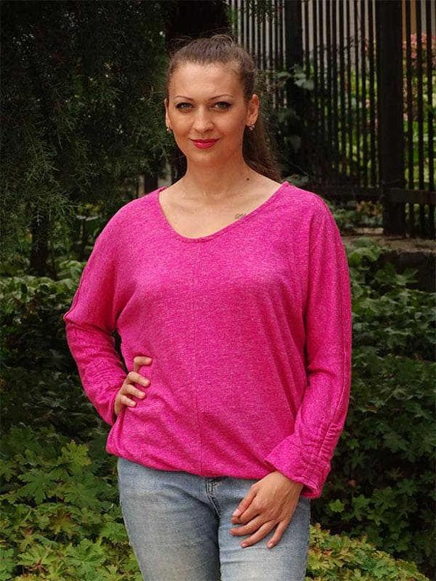Дамска блуза прилеп ръкав Наталия наситено розова
