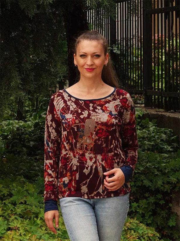 Дамска блуза с дълъг ръкав 2018 пъстра щампа