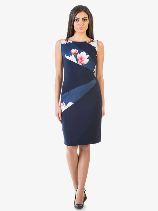 Дамска елегантна рокля София тъмно синя