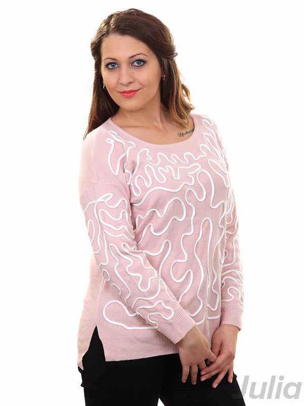 Дамска плетена блуза розова с орнаменти