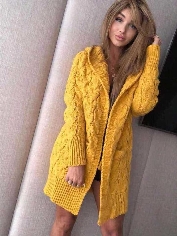 Дамска плетена жилетка с качулка цвят тиква от Joly Fashion