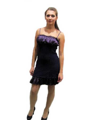 Дамска плетена рокля със сатенена гарнитура