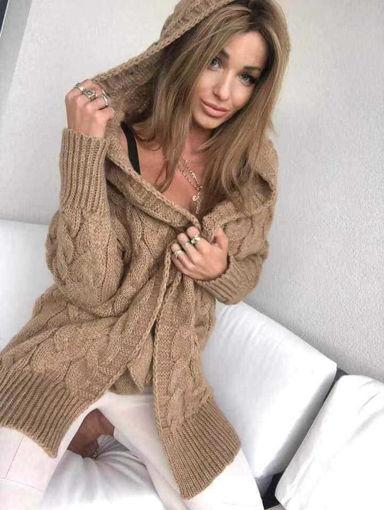 Дълга жилетка охра с качулка от Joly Fashion