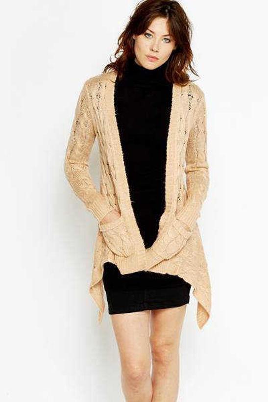 Дълга жилетка с джобове и плетеници от Joly Fashion