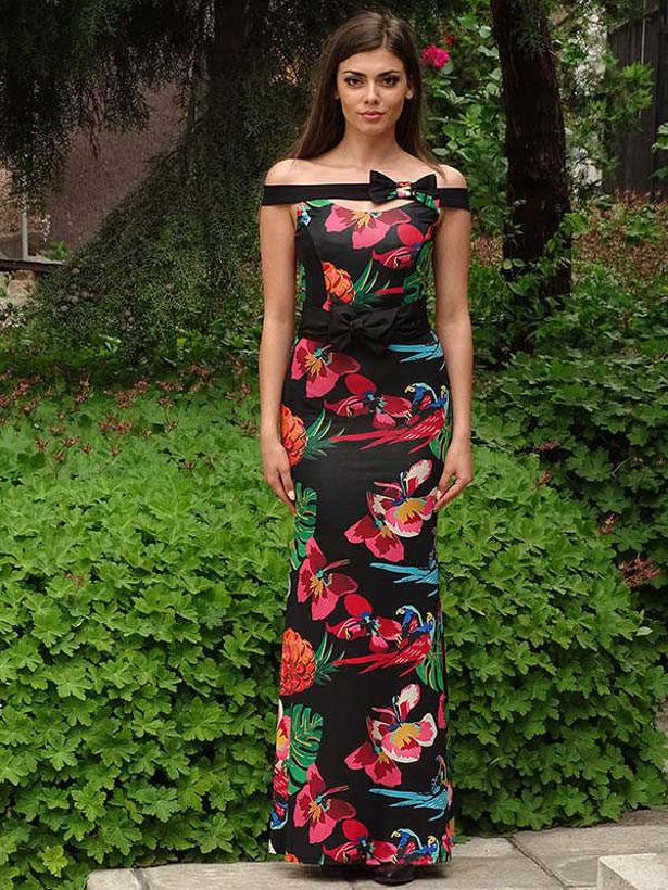Дълга рокля Катерина с отворени рамене