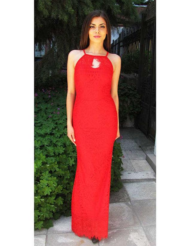 Дълга червена рокля от дантела Julia