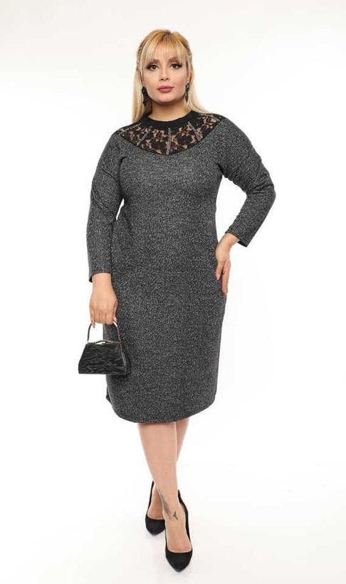 Елегантна макси рокля с дантелена платка и камъчета