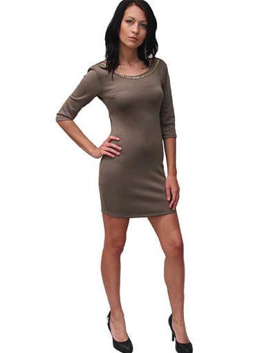 Къса официална рокля бежова Julia