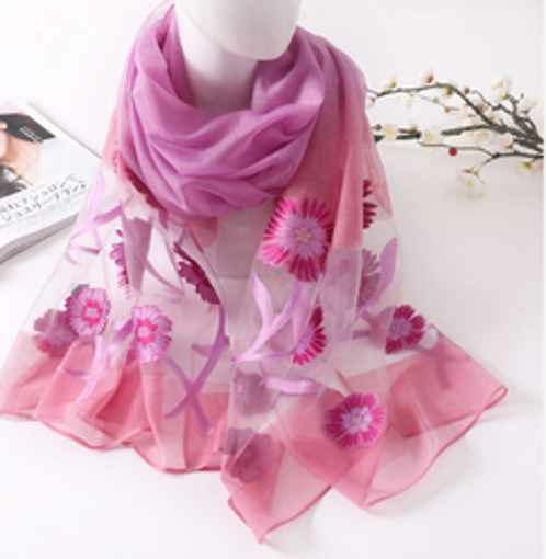 Летен шал на цветя наситено розов от July Fashion