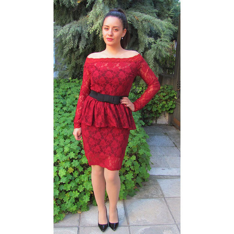 Дантелена рокля цвят бордо официална от Joly Fashion