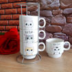 Комплект керамични чаши за кафе на метална стойка Elf Cat 100ml