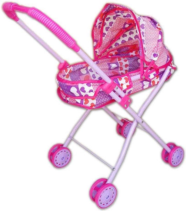 Детска количка за кукли метална с козирка, зимна за легнала кукла - малка