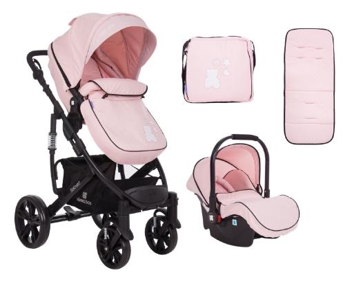 Комбинирана количка 3 в 1 Kikkaboo Beloved Light Pink