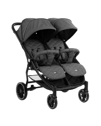 Бебешка количка за близнаци Kikkaboo Happy 2 2020 Dark Grey