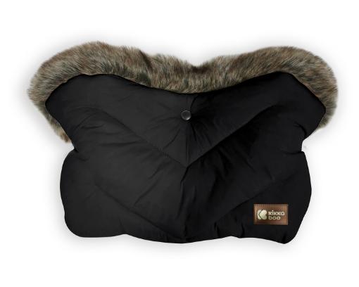 Ръкавица за количка Kikkaboo Luxury Fur Black
